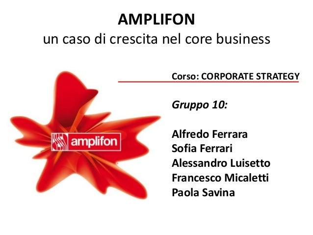 Corporate Strategy: Amplifon