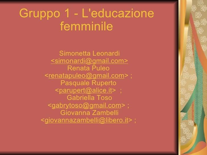 Gruppo 1 L Educazione Femminile Docs