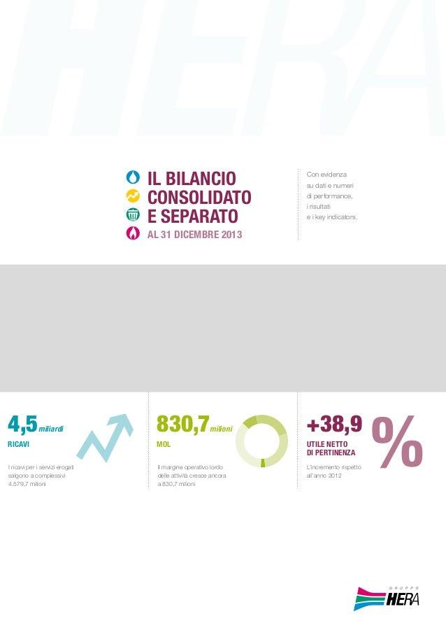 ILBilaNcioCONSOLIDATOED'ESERCIZOAL31DICEMBRE2013GRUPPOHERA Con evidenza su dati e numeri di performance, i risultati e i k...
