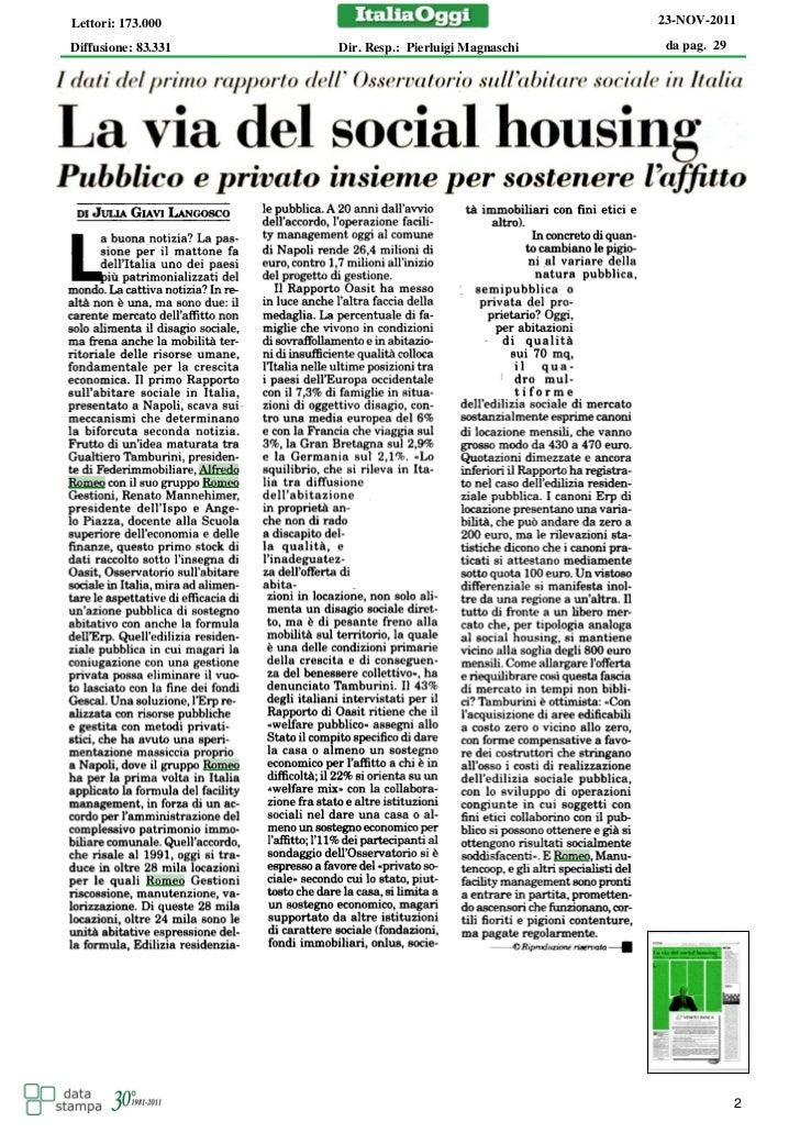 Gruppo Romeo:  il social housing in Italia