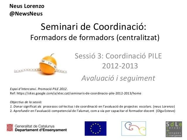 Seminari de coordinació 3 -PILE (Avaluació -1)
