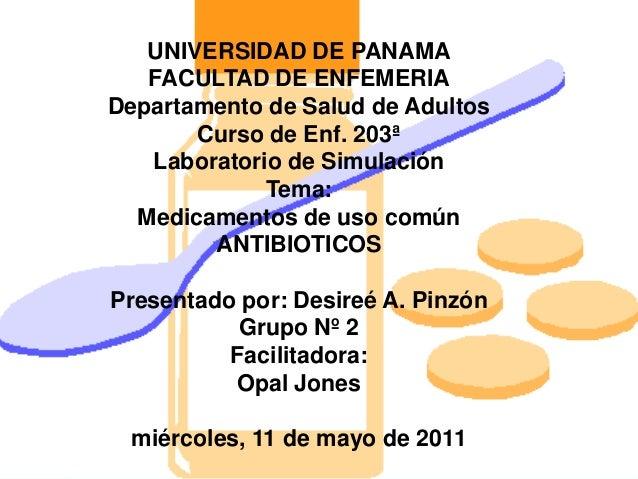 UNIVERSIDAD DE PANAMA FACULTAD DE ENFEMERIA Departamento de Salud de Adultos Curso de Enf. 203ª Laboratorio de Simulación ...