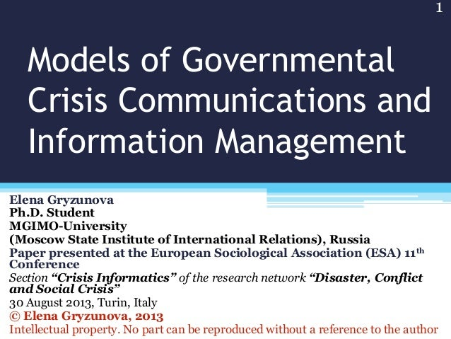 Models of Governmental Crisis Communications and Information Management
