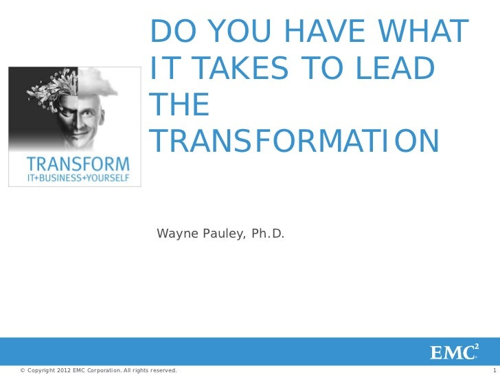 Cloud Architect - Do You Have What it Takes to Lead the Transformation? ( EMC World 2012 )
