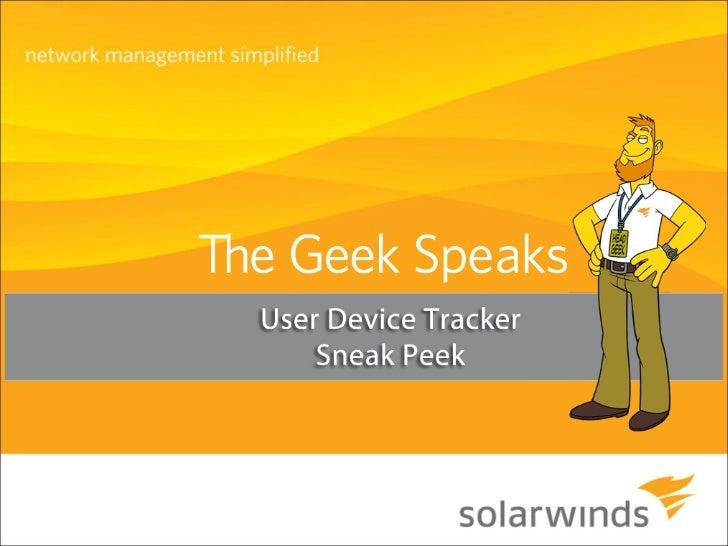 Sneak Peek of SolarWinds User Device Tracker