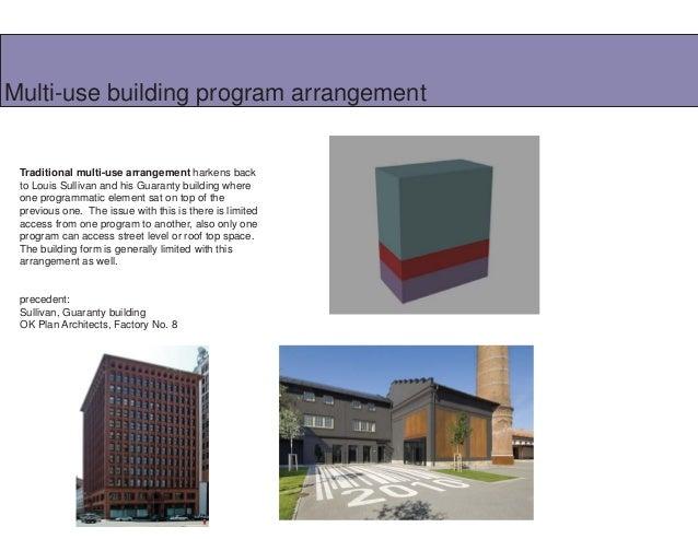 Multi-use building program arrangement  Traditional multi-use arrangement harkens back to Louis Sullivan and his Guaranty ...