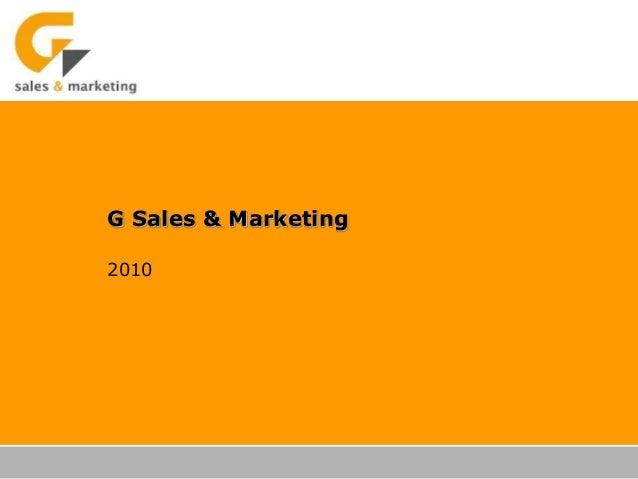 G Sales & Marketing 2010