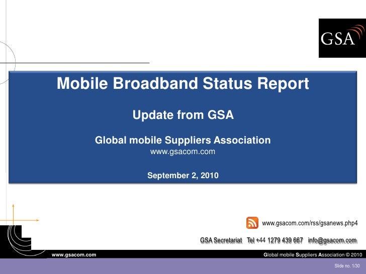 GSA Mobile Broadband Status Report August 2010
