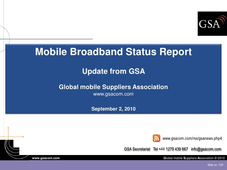 GSA Mobile Broadband Status Report August 2010