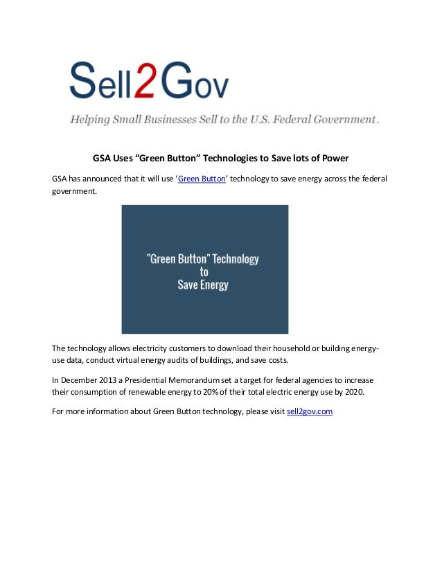 """GSA Will Use """"Green Button"""" Technology to Save Energy"""