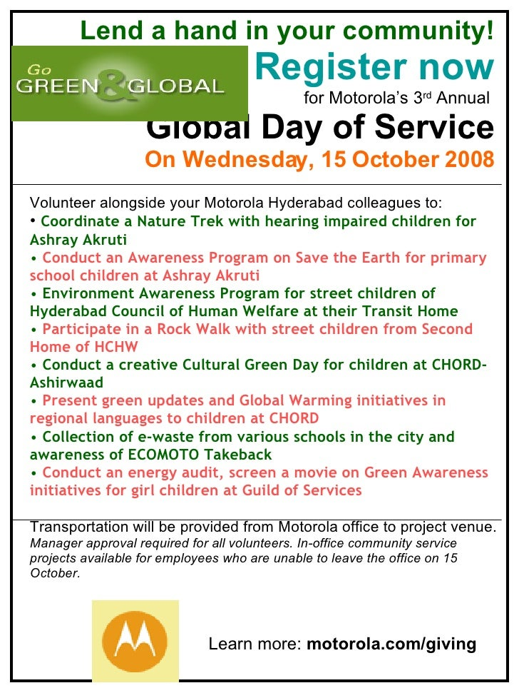 6622 Lend a hand in your community! Register now for Motorola's 3 rd  Annual  Global Day of Service On Wednesday, 15 Octob...