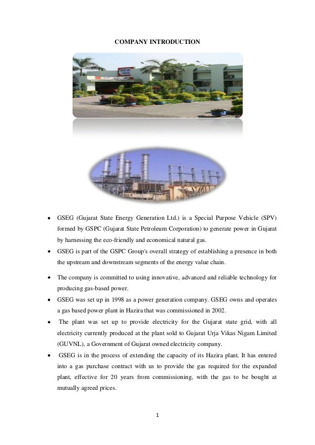 COMPANY INTRODUCTIONGSEG (Gujarat State Energy Generation Ltd.) is a Special Purpose Vehicle (SPV)formed by GSPC (Gujarat ...