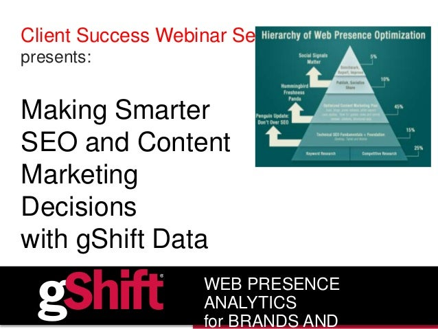 Client Success Webinar Series presents: Making Smarter SEO and Content Marketing Decisions with gShift Data WEB PRESENCE A...