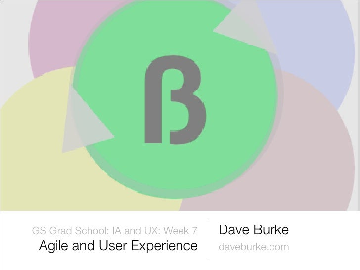 Lecture slides from GS-IA Week 7: Agile and UX
