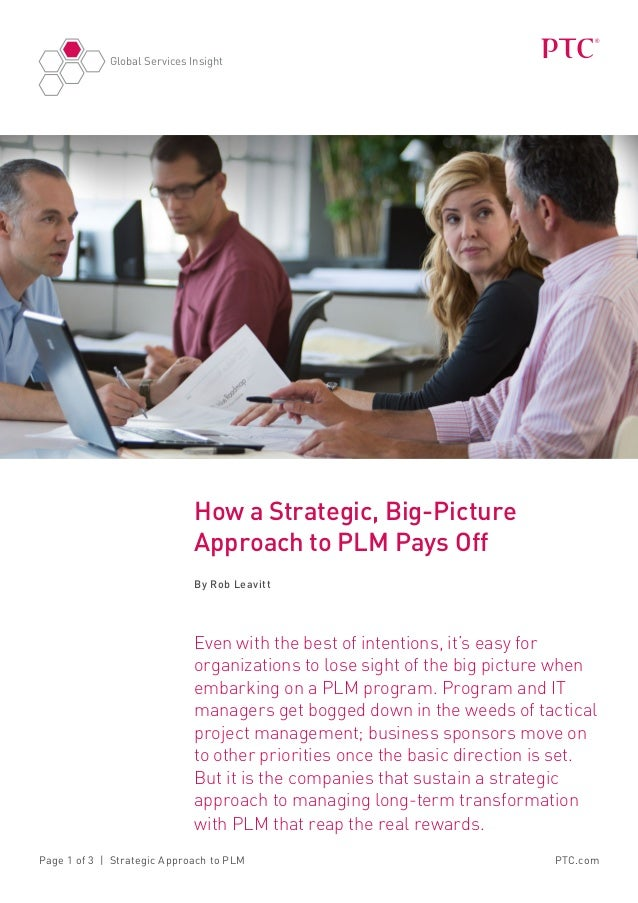 Global Services InsightPTC.comPage 1 of 3   Strategic Approach to PLMHow a Strategic, Big-PictureApproach to PLM Pays OffB...