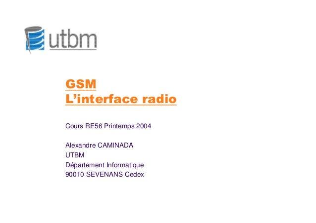 GSML'interface radioCours RE56 Printemps 2004Alexandre CAMINADAUTBMDépartement Informatique90010 SEVENANS Cedex
