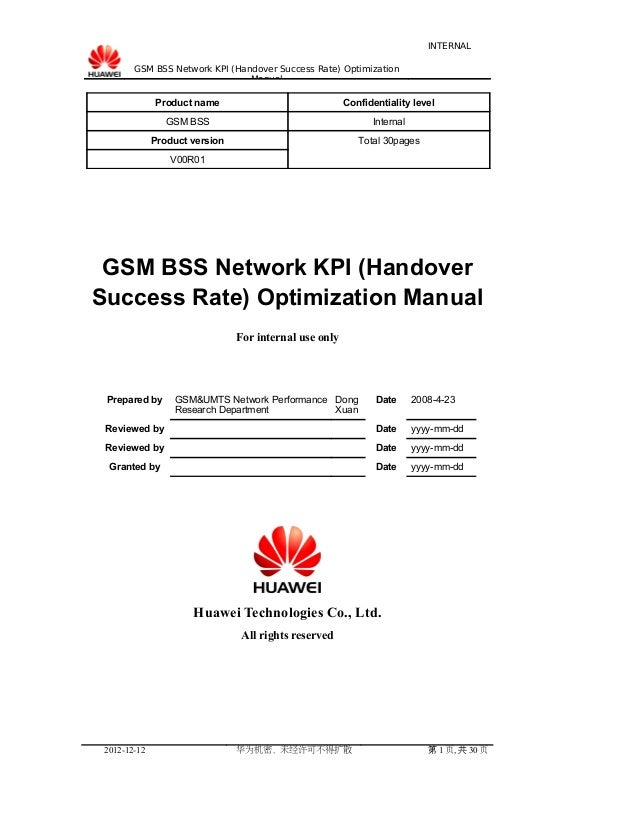 INTERNAL GSM BSS Network KPI (Handover Success Rate) Optimization Manual  Product name  Confidentiality level  GSM BSS  In...