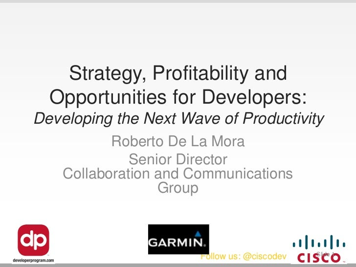 Strategy, Profitability and  Opportunities for Developers:Developing the Next Wave of Productivity           Roberto De La...