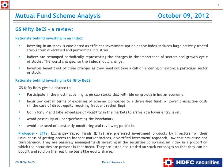 1Mutual Fund Scheme Analysis                                                            October 09, 2012GS Nifty BeES – a ...