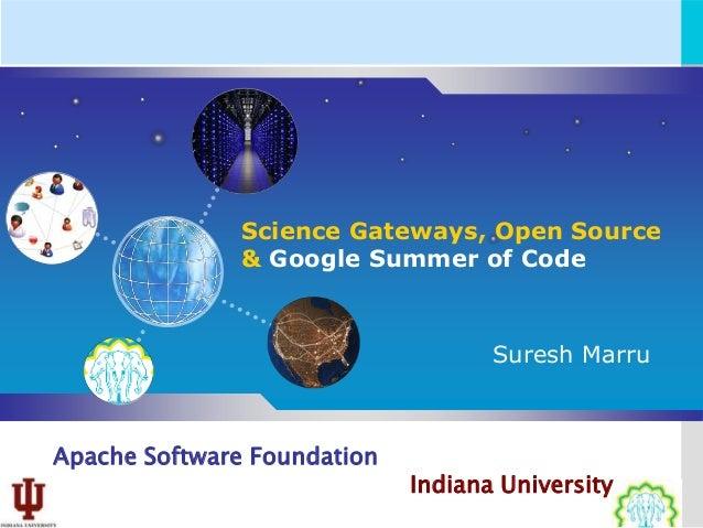 Science Gateways, Open Source               & Google Summer of Code                                    Suresh MarruApache ...