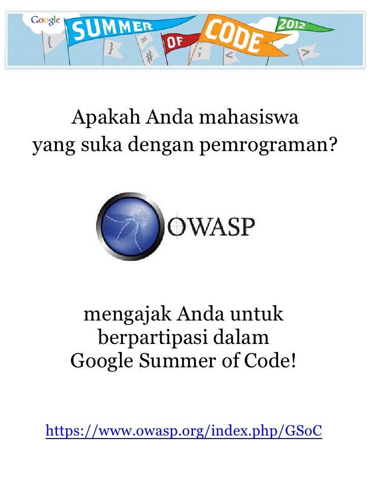 Brosur OWASP - Google Summer of Code 2012