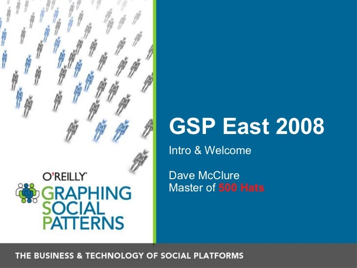 GSP East 2008 <ul><li>Intro & Welcome </li></ul><ul><li>Dave McClure </li></ul><ul><li>Master of  500 Hats </li></ul>