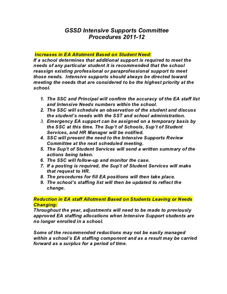 GSSD Intensive Supports Committee                    Procedures 2011-12 Increases in EA Allotment Based on Student Need:If...