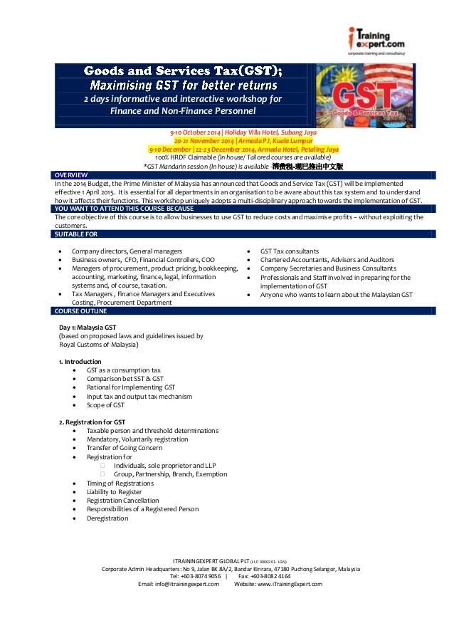 Gst 2 days public program by iTrainingExpert.com in Malaysia