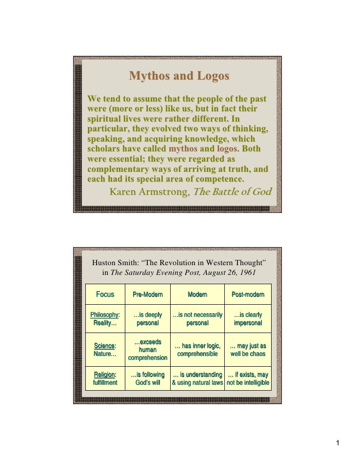 Mythos and LogosWe tend to assume that the people of the pastwere (more or less) like us, but in fact theirspiritual lives...