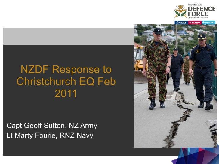 NZDF Response to Christchurch EQ Feb 2011 Capt Geoff Sutton, NZ Army Lt Marty Fourie, RNZ Navy