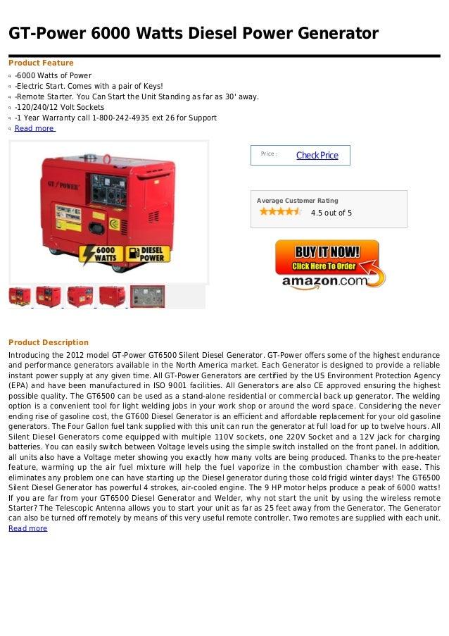 Gt Power 6000 Watts Diesel Power Generator