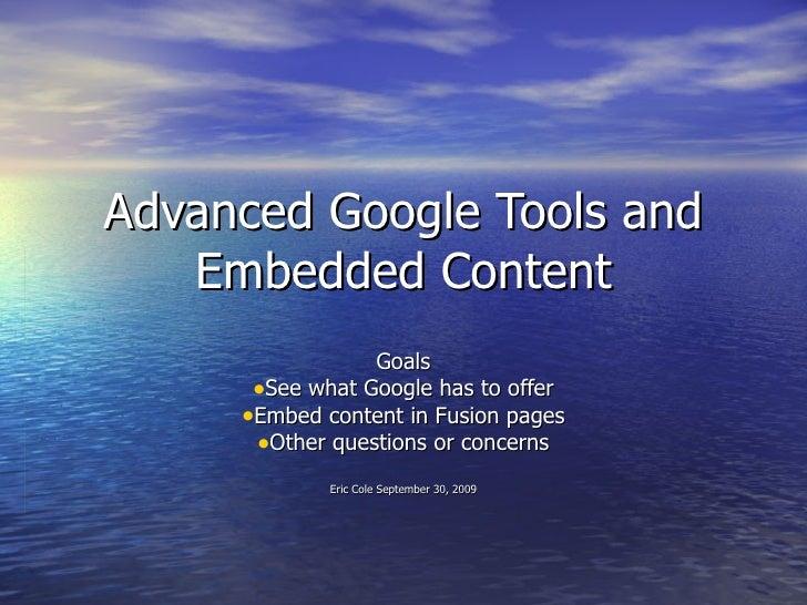 More Google Tools