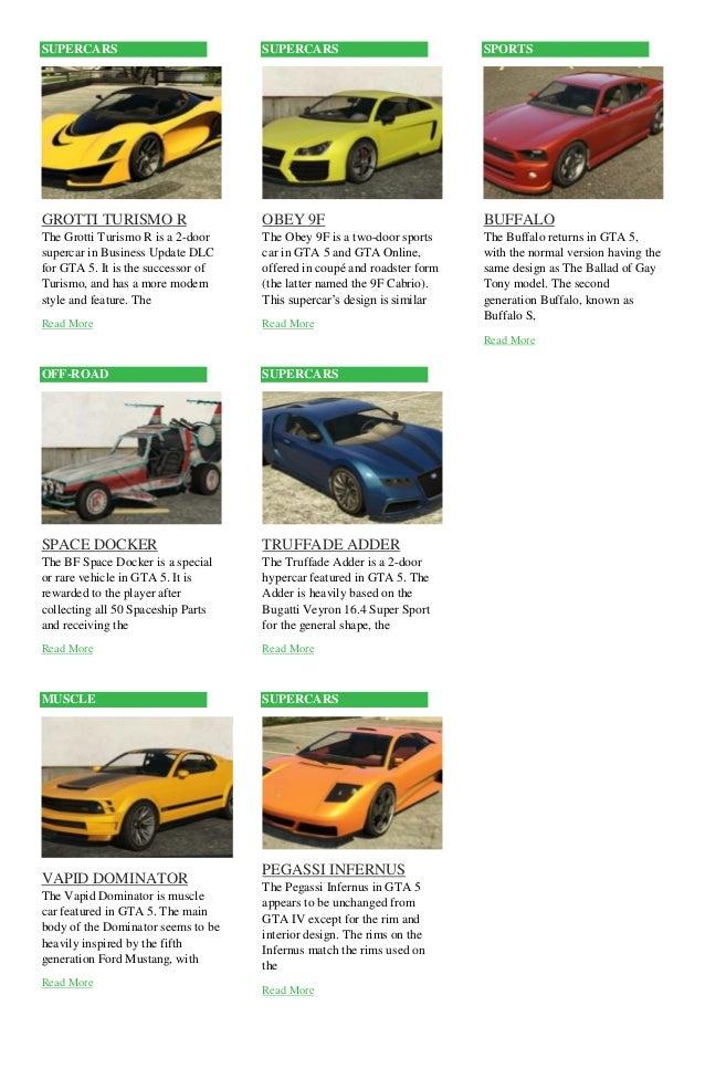New Car Names In Gta