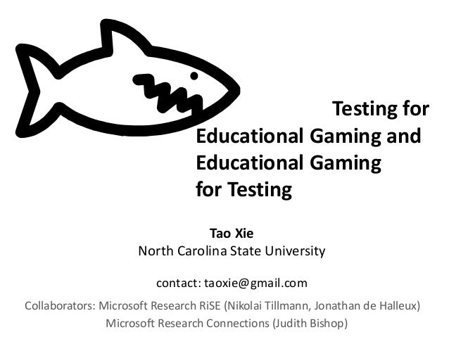 Testing for Educational Gaming and Educational Gaming for Testing