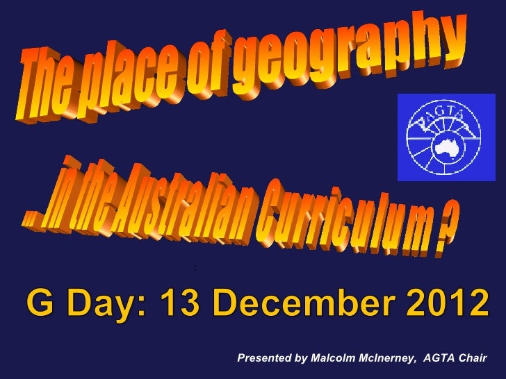Working with the Australian Curriculum: Geography, Malcolm McInerney, AGTA