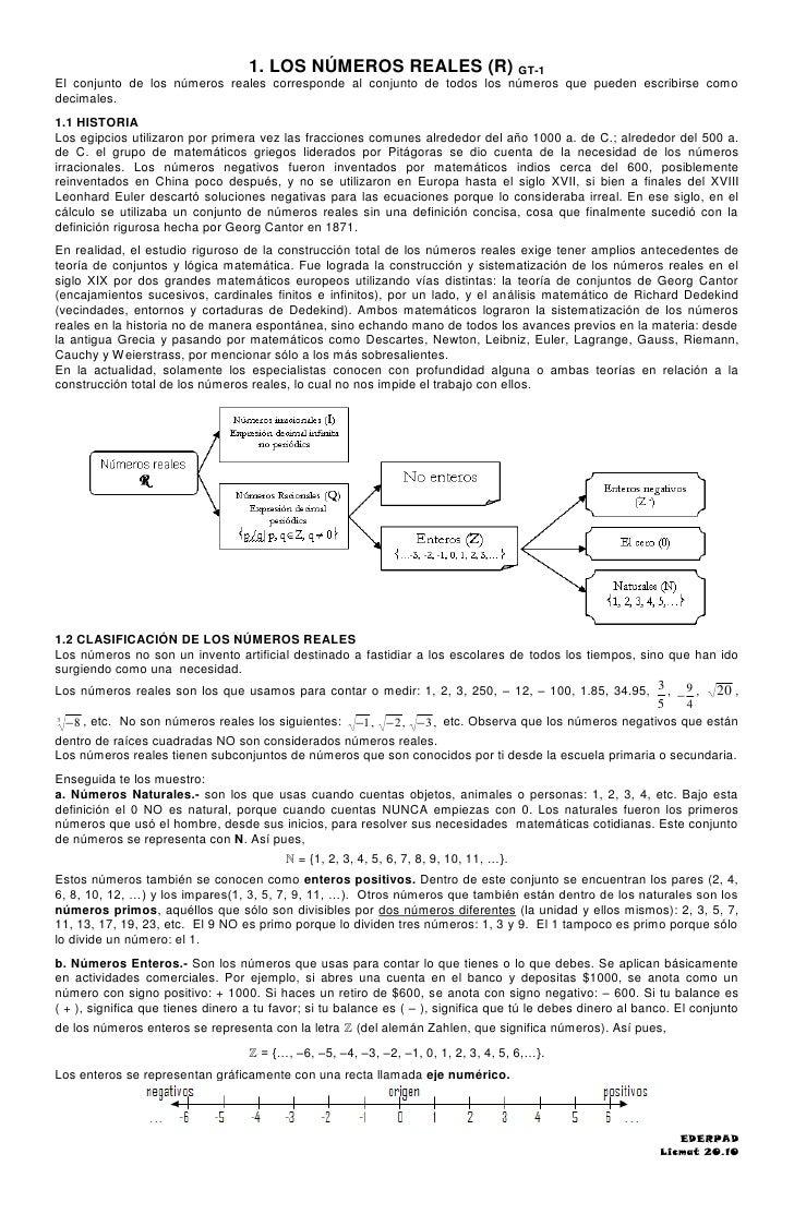 1. LOS NÚMEROS REALES (R) GT-1 El conjunto de los números reales corresponde al conjunto de todos los números que pueden e...