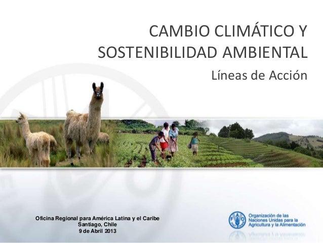 CAMBIO CLIMÁTICO Y SOSTENIBILIDAD AMBIENTAL Líneas de Acción Oficina Regional para América Latina y el Caribe Santiago, Ch...