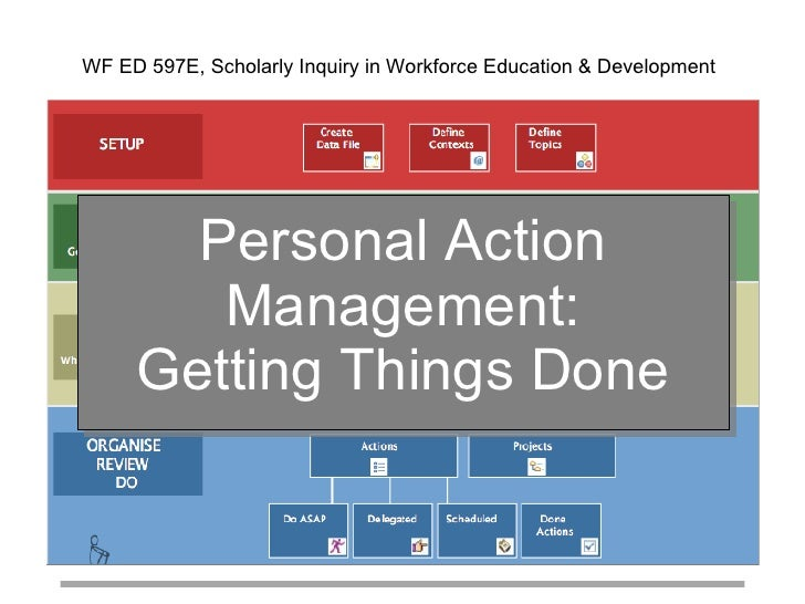 Personal Action Management: Getting Things Done WF ED 597E, Scholarly Inquiry in Workforce Education & Development