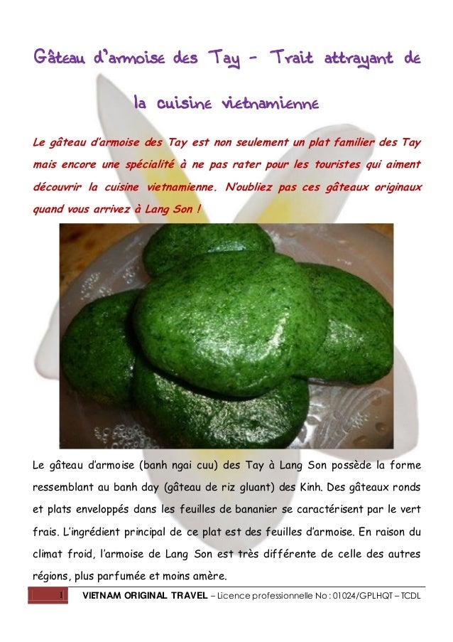 1 VIETNAM ORIGINAL TRAVEL – Licence professionnelle No : 01024/GPLHQT – TCDL Gâteau d'armoise des Tay – Trait attrayant de...