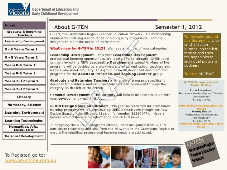 GTEN Semester One Draft Program 2012