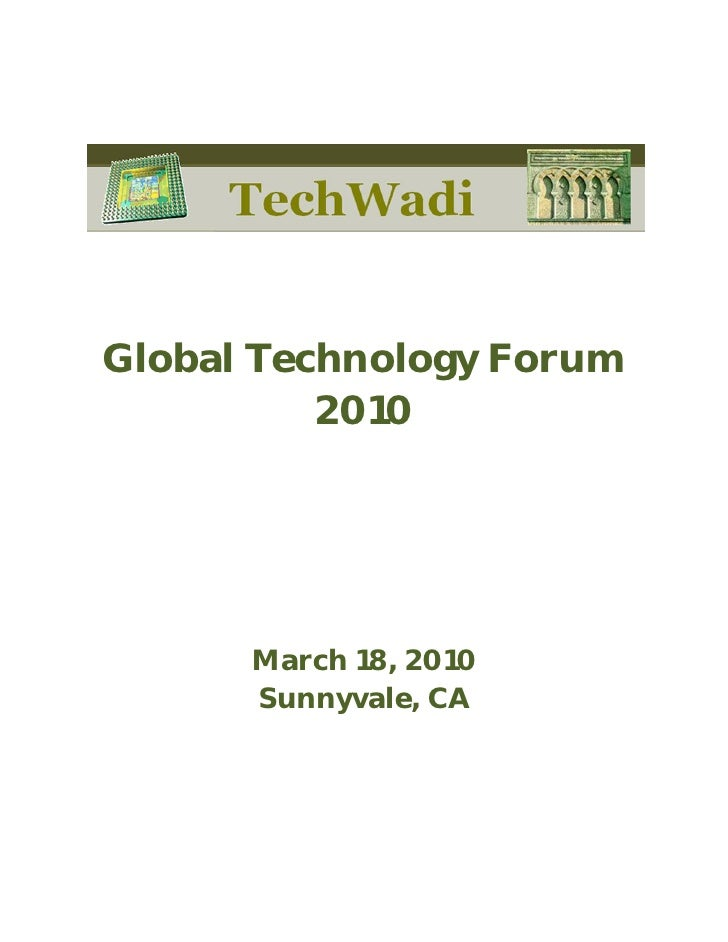 TechWadi Event Booklet – Silicon Valley GTF (Mar/18/2010)