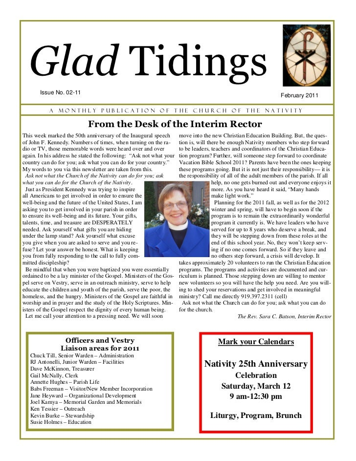 Glad Tidings       Issue No. 02-11                                                                                        ...
