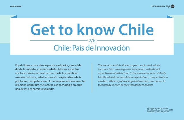 GET TO KNOW CHILE 2  MAGIALIQUID.COM  Get to know Chile 2/6  Chile: País de Innovación El país lidera en los diez aspectos...