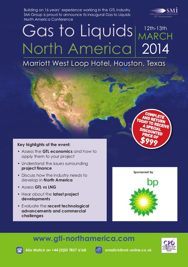 SMi Group's Gas to Liquids North America conference & exhibition - flyer
