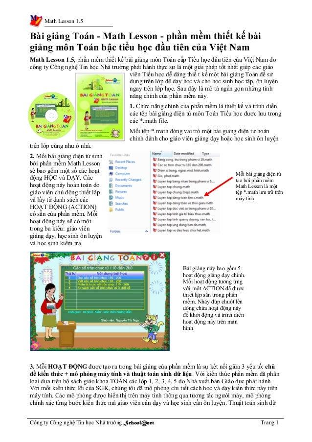 Math Lesson 1.5 Bài giảng Toán - Math Lesson - phần mềm thiết kế bài giảng môn Toán bậc tiểu học đầu tiên của Việt Nam Mat...