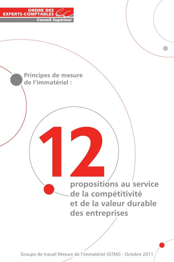Principes de mesure de l'immatériel :     12                propositions au service                       de la compétitiv...