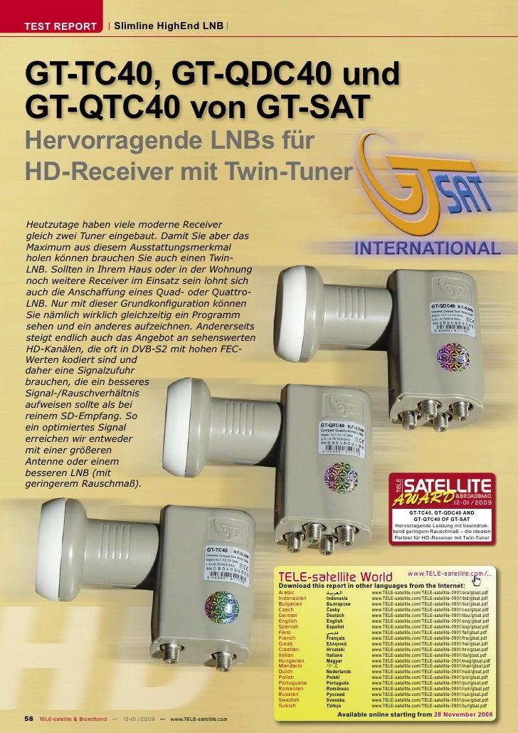 TEST REPORT                  Slimline HighEnd LNB     GT-TC40, GT-QDC40 und GT-QTC40 von GT-SAT Hervorragende LNBs für HD-...