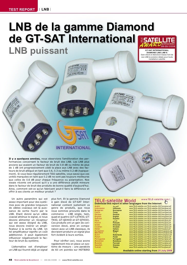 TEST REPORT                  LNB     LNB de la gamme Diamond de GT-SAT International LNB puissant                         ...