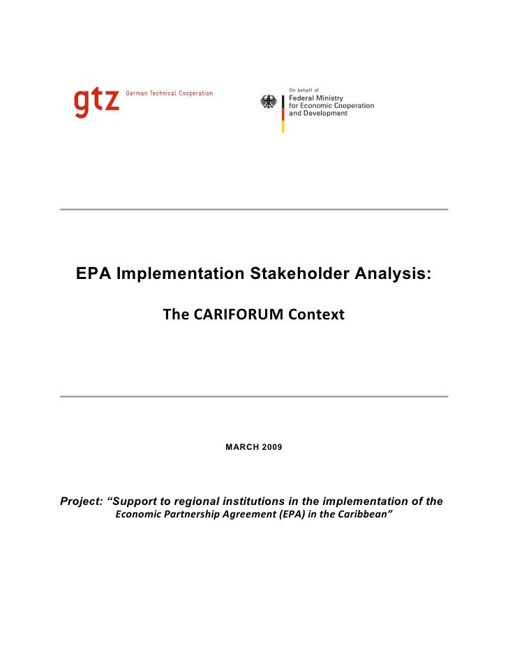 EPA Implementation Stakeholder Analysis:                   The