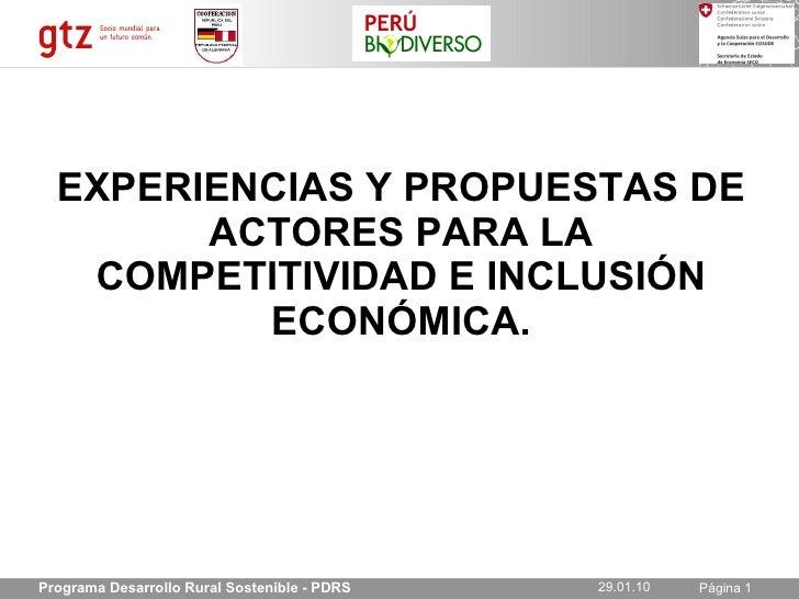 GTZ-Experiencias y Propuestas de actores para la competitividad e inclusion economica